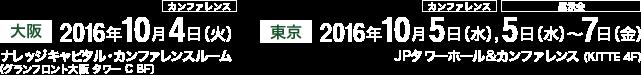 大阪:2016年10月4日(火) ナレッジキャピタル・カンファレンスルーム、東京:2016年10月5日(水)〜7日(金) JPタワーホール&カンファレンス(KITTE 4F)